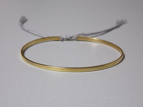 flat bracelet silver goldplated with string grey