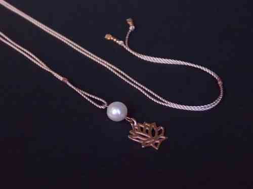 silk rose silver beads and lotus rosegold plated with pearl rose