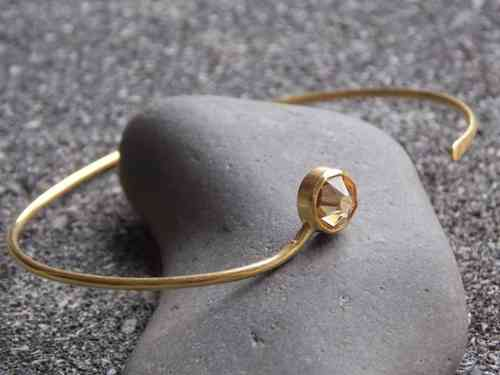 bangle frosted silver gold plated with Swarovski