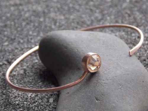 bangle frosted silver rosegold plated with Swarovski