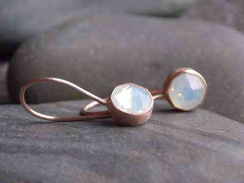 earring frosted silver rosegold plated with Swarovski