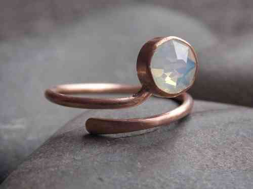 ring frosted silver rosegold plated with Swarovski