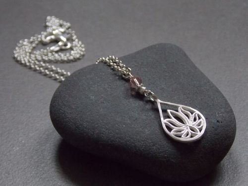925er silver necklace small Lotus and Swarovski