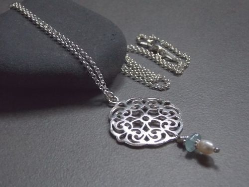 925er silver necklace  Mandala with Swarovski and pearl