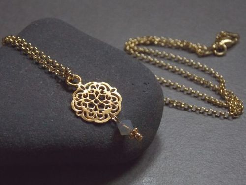 925er silver necklace gold plated small Mandala and Swarovski