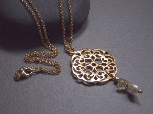 925er silver necklace  gold plated Mandala with Swarovski and pearl