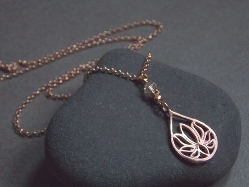 925er silver necklace rose gold plated small Lotus and Swarovski