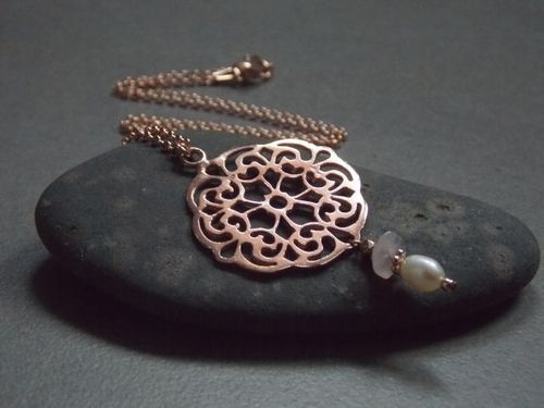 925er silver necklace  rose gold plated Mandala with Swarovski and pearl