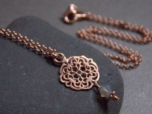 925er silver necklace rose gold plated small Mandala and Swarovski