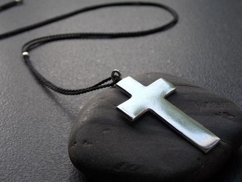silk ribbon-necklace with cross silver