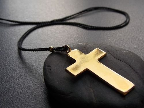 silk ribbon-necklace with cross gold plated