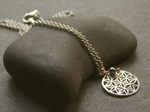 silver necklace small flower of life