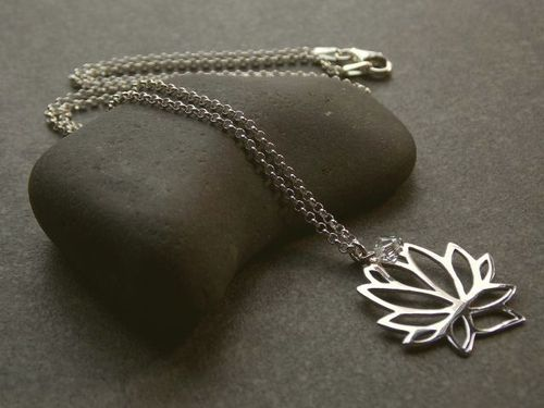 silver necklace large lotus