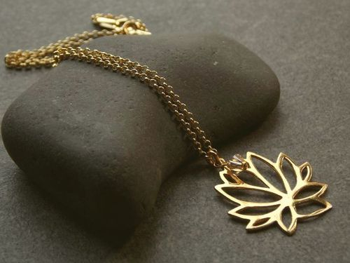 silver necklace gold plated large lotus