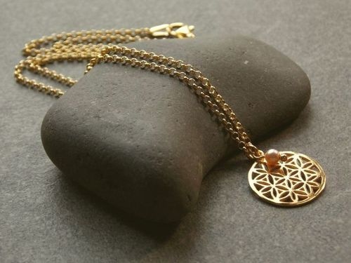 silver necklace gold plated small flower of life