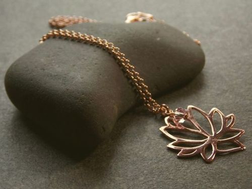 silver necklace rosegold plated large lotus
