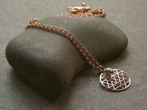 silver necklace rosegold plated small flower of life