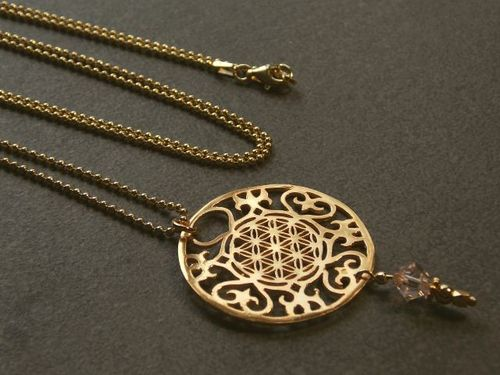 silver necklace mandala large gold plated