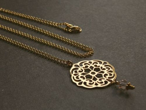 silver necklace mandala medium gold plated
