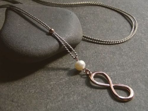 silk grey silver beads rosegold plated and endless  with white pearl