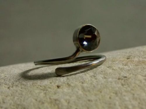 ring silver black plated with swarovski