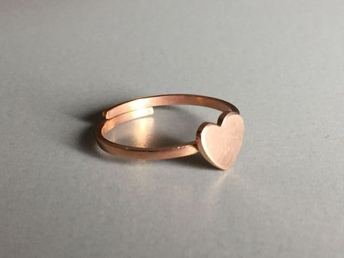 ring heart rosegold plated